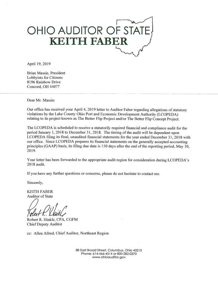 Letter from Ohio Auditor of State 4-19-19