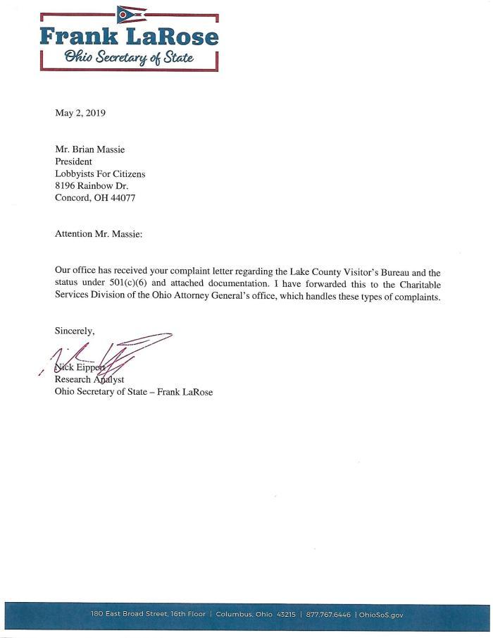 VB LaRose Response 5-2-19