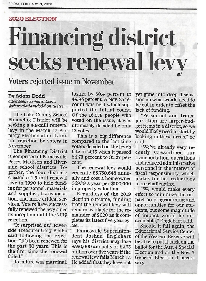 NEWS-HERALD FINANCING DISTRICT 2-21-20