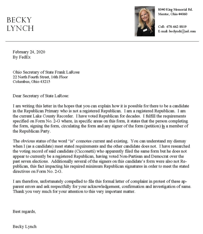 Becky Lynch letter to State